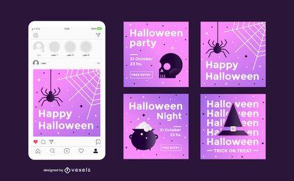 Conjunto de postagem de mídia social de festa de Halloween