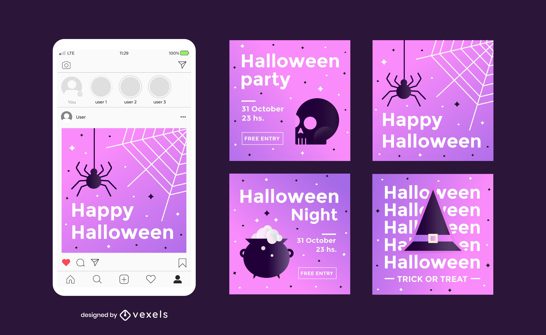 Conjunto de publicaciones de redes sociales de fiesta de halloween