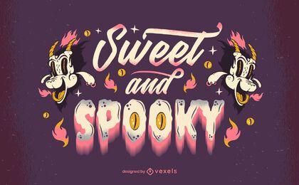 süßer und gruseliger Halloween-Schriftzug