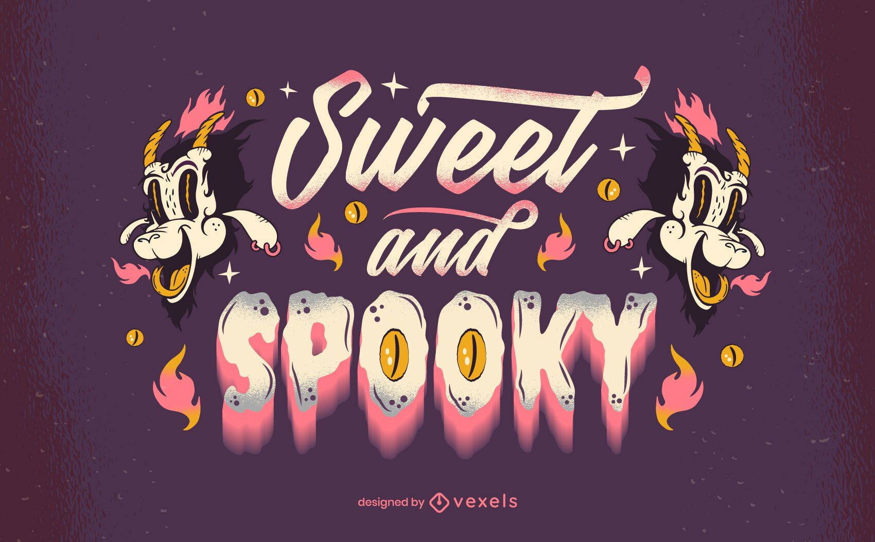 sweet and spooky halloween lettering