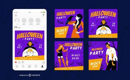 Feliz halloween redes sociales conjunto de publicaciones