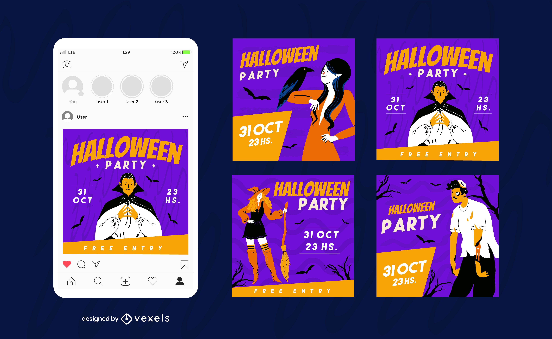 Happy Halloween Social Media Post Set