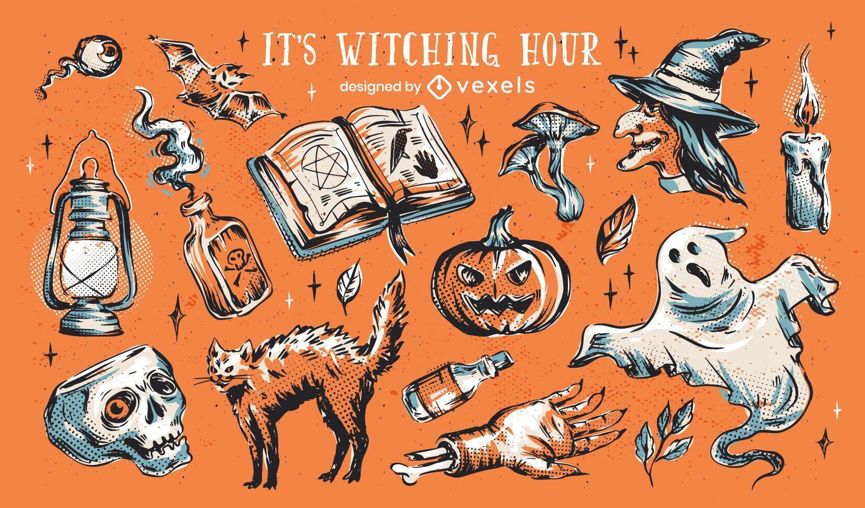 Conjunto de ilustración de elementos de brujería