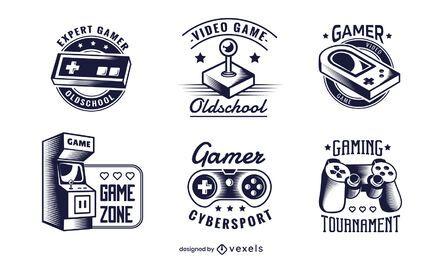 conjunto de ilustração de emblema de jogo