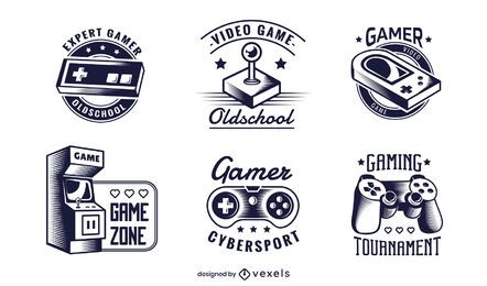 gaming badge illustration set