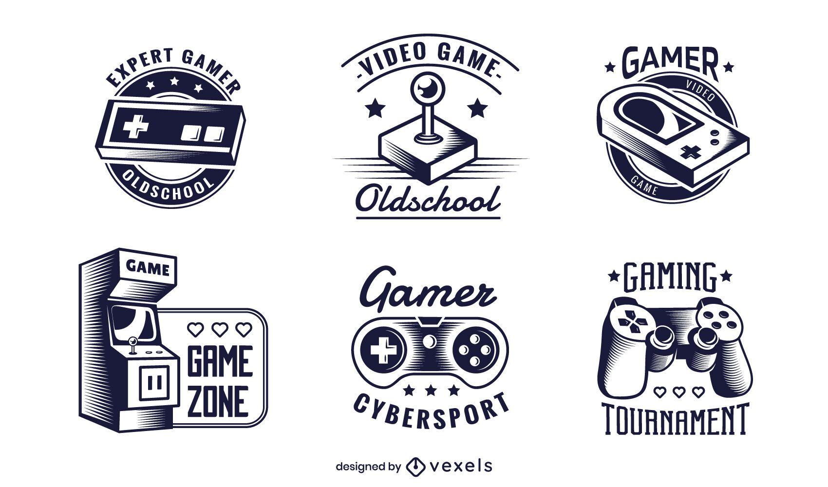 conjunto de ilustración de insignia de juego