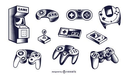 gaming elements illustration set