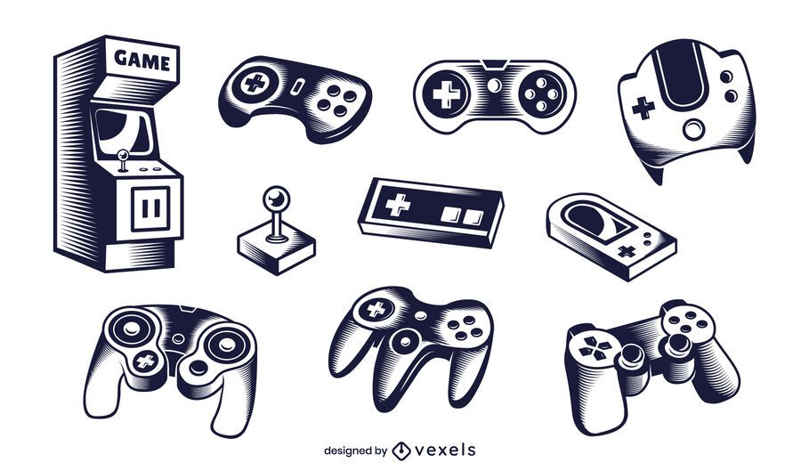 gaming elements illustration set