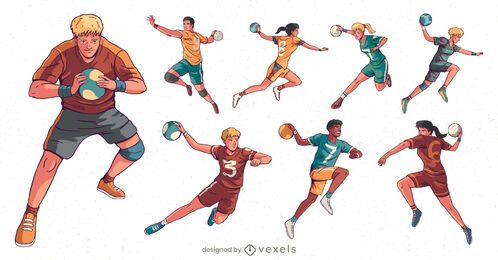handball players character set