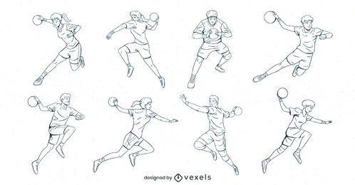 conjunto desenhado à mão de jogadores de handebol