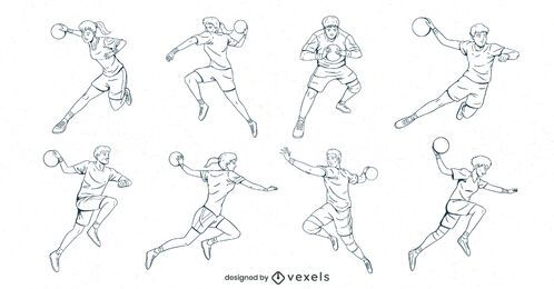 handball players hand drawn set