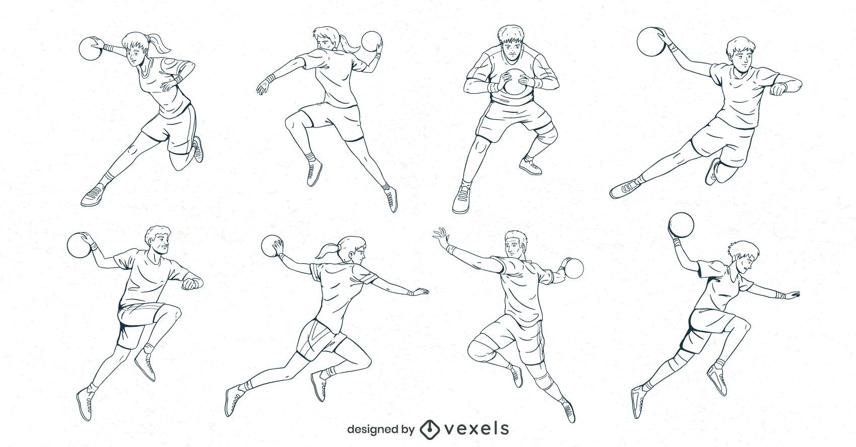 handball players hand drawn set