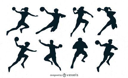 conjunto de silueta de jugadores de balonmano