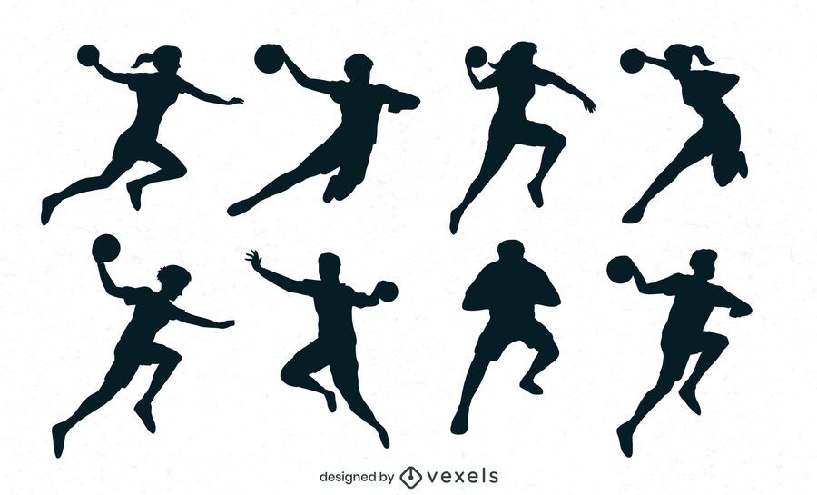 handball players silhouette set