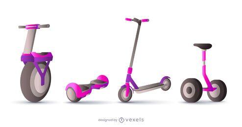 conjunto de ilustración de scooter realista