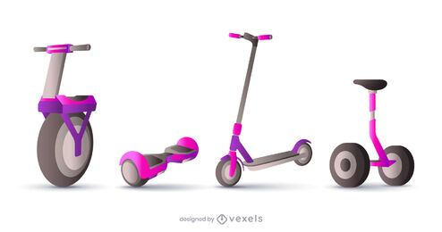 realistic scooter illustration set