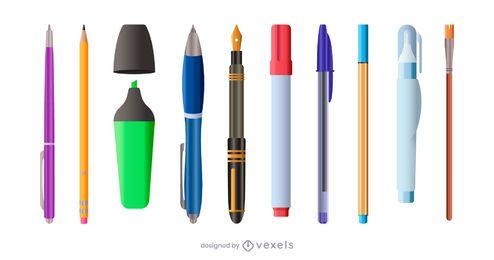 conjunto de ilustração de suprimentos de escrita