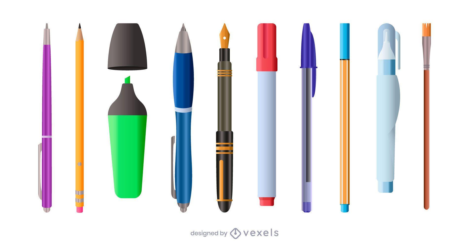 conjunto de ilustración de suministros de escritura