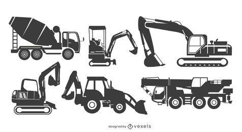 conjunto de silhueta de máquina de construção