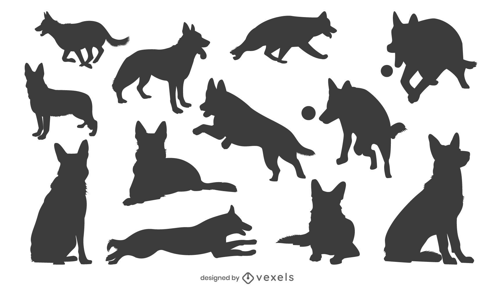 German Shepherd Silhouette Set Vector Download This is a rough sketch drawn straight on with a sharpie pen based on a design i created a few years back. german shepherd silhouette set vector