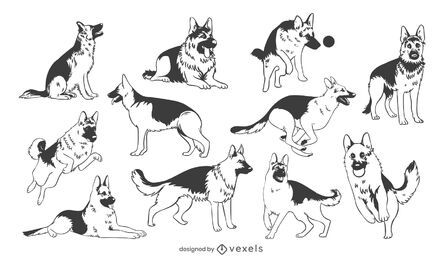 Deutscher Schäferhund Hand gezeichneter Satz