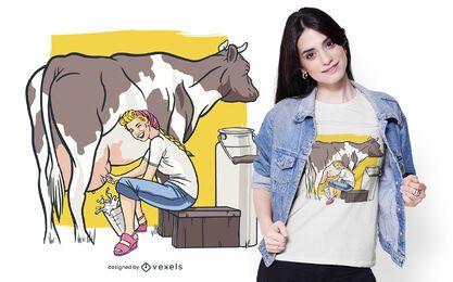 Design de camiseta de mulher ordenhando vaca