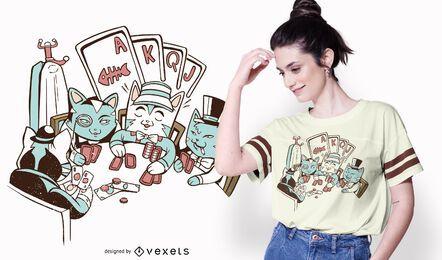 Diseño de camiseta de gatos de póker