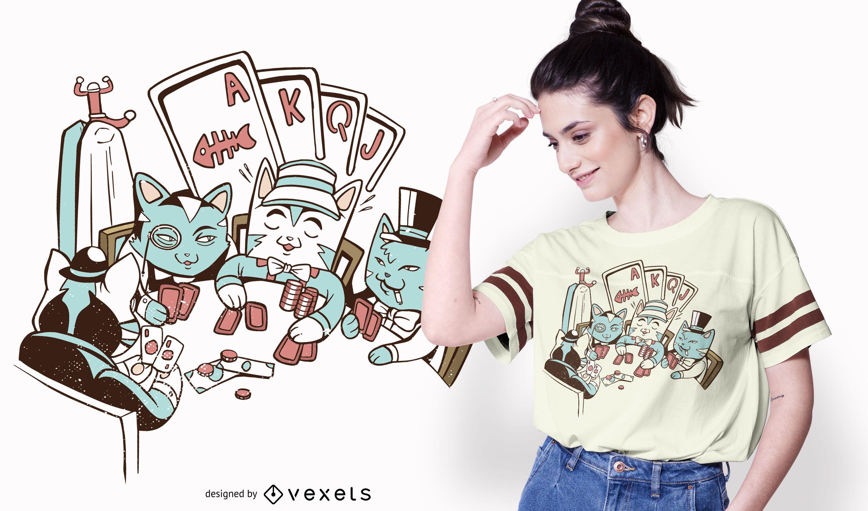 Poker cats t-shirt design