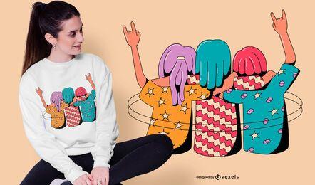 Diseño de camiseta de niñas abrazando.