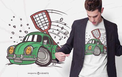 Design de t-shirt de mata-moscas de carro