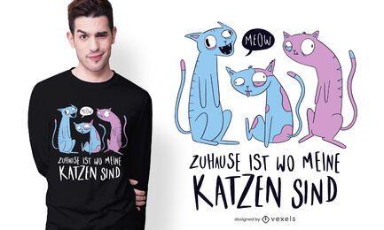 Diseño de camiseta alemana de gatos domésticos.
