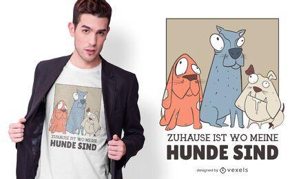 Projeto alemão do t-shirt dos cães em casa