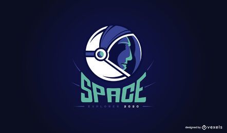 Diseño de logotipo de astronauta espacial