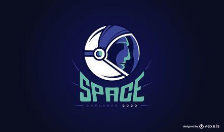 Diseño de logotipo espacial astronauta
