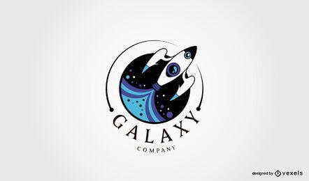 Weltraum-Raketenschiff-Logo-Design