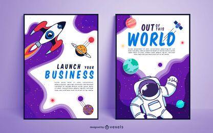 Design de cartaz do espaço sideral