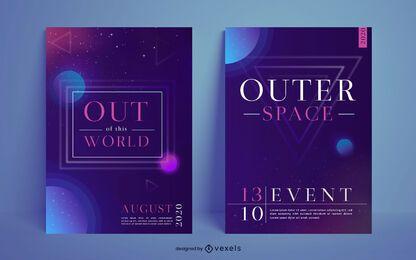 Conjunto de diseño de carteles de espacio exterior.