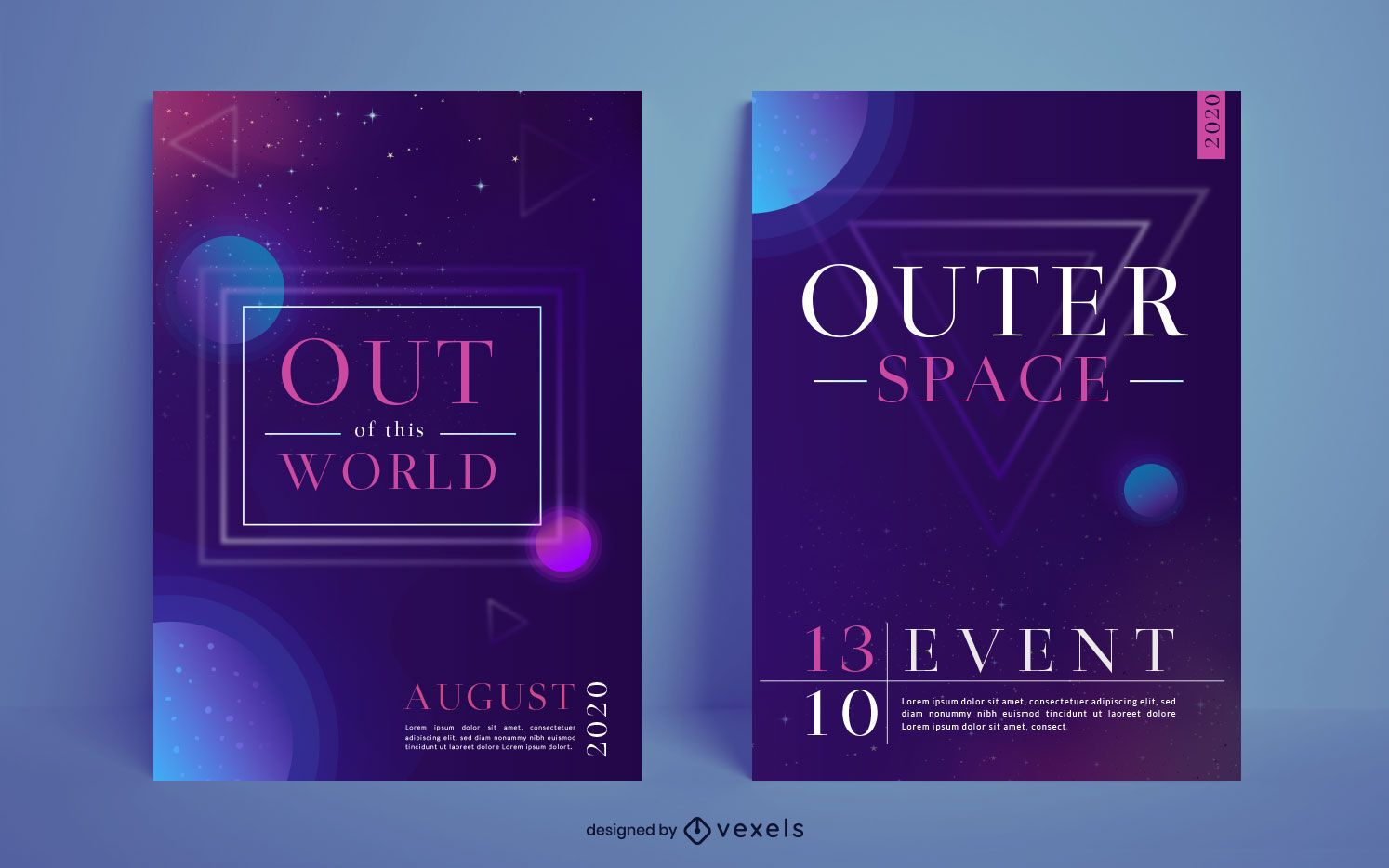 Outer space poster design set