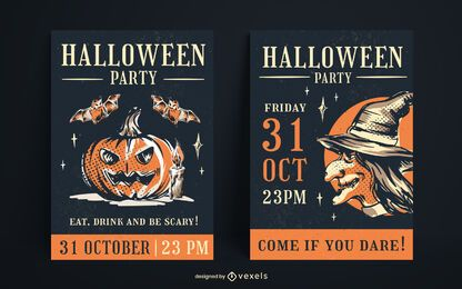 Diseño de carteles vintage de Halloween