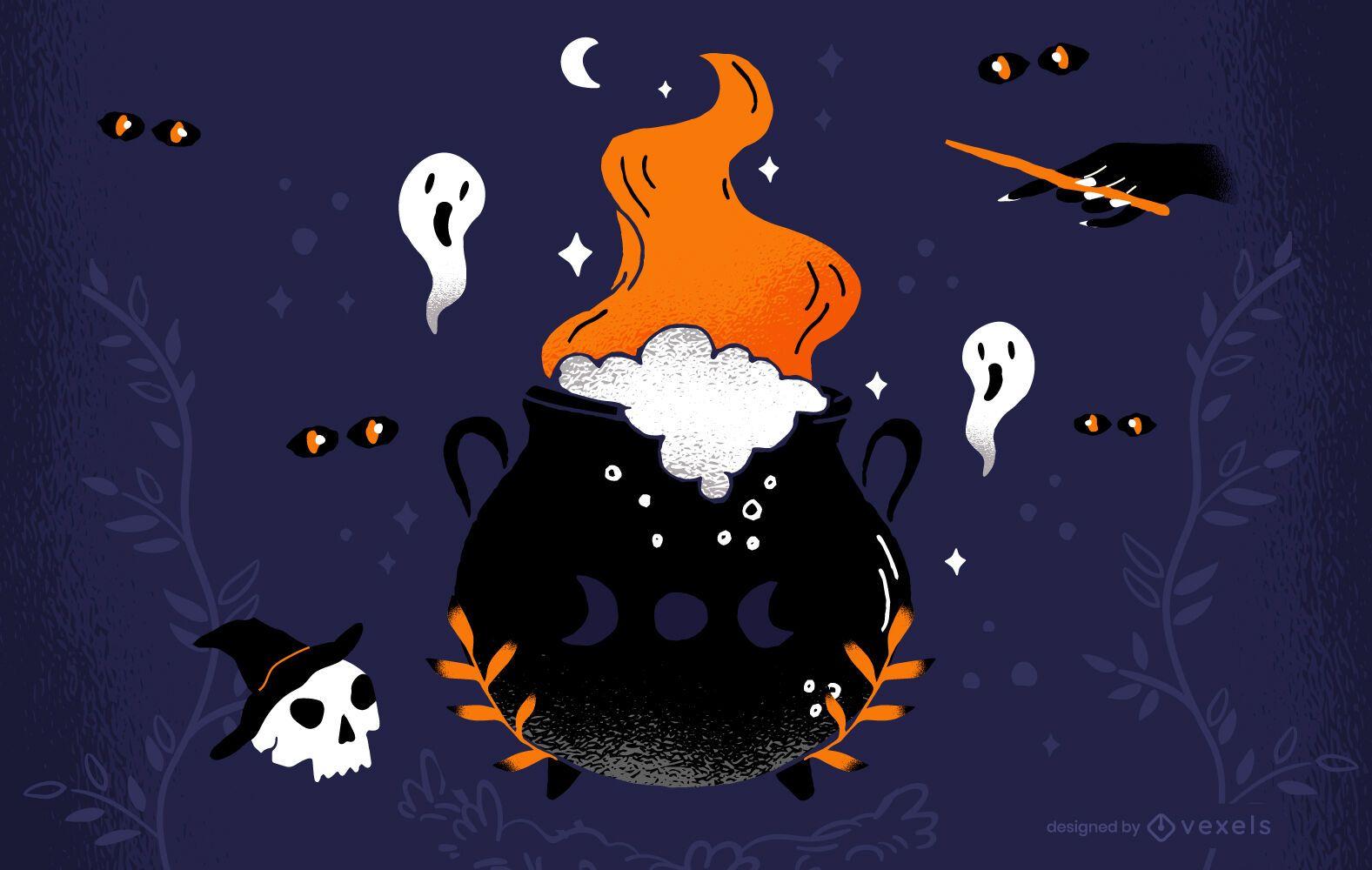 Halloween cauldron illustration design