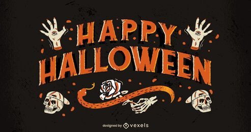 Scary happy halloween lettering design