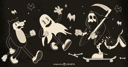 Halloween retro character set