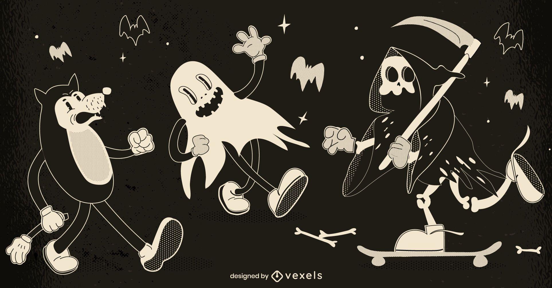 Halloween Retro Zeichensatz