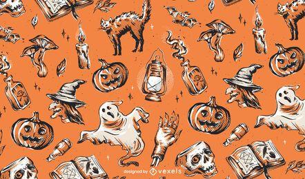 Weinlese-Halloween-Musterentwurf