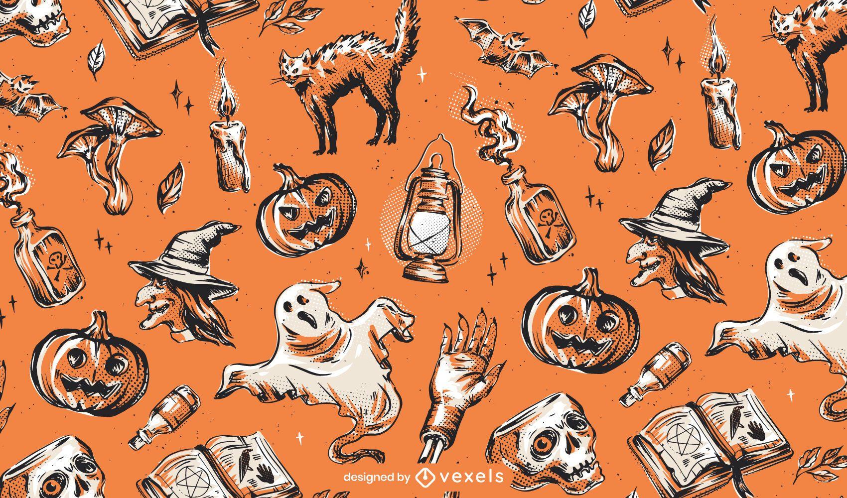 Diseño de patrón de halloween vintage