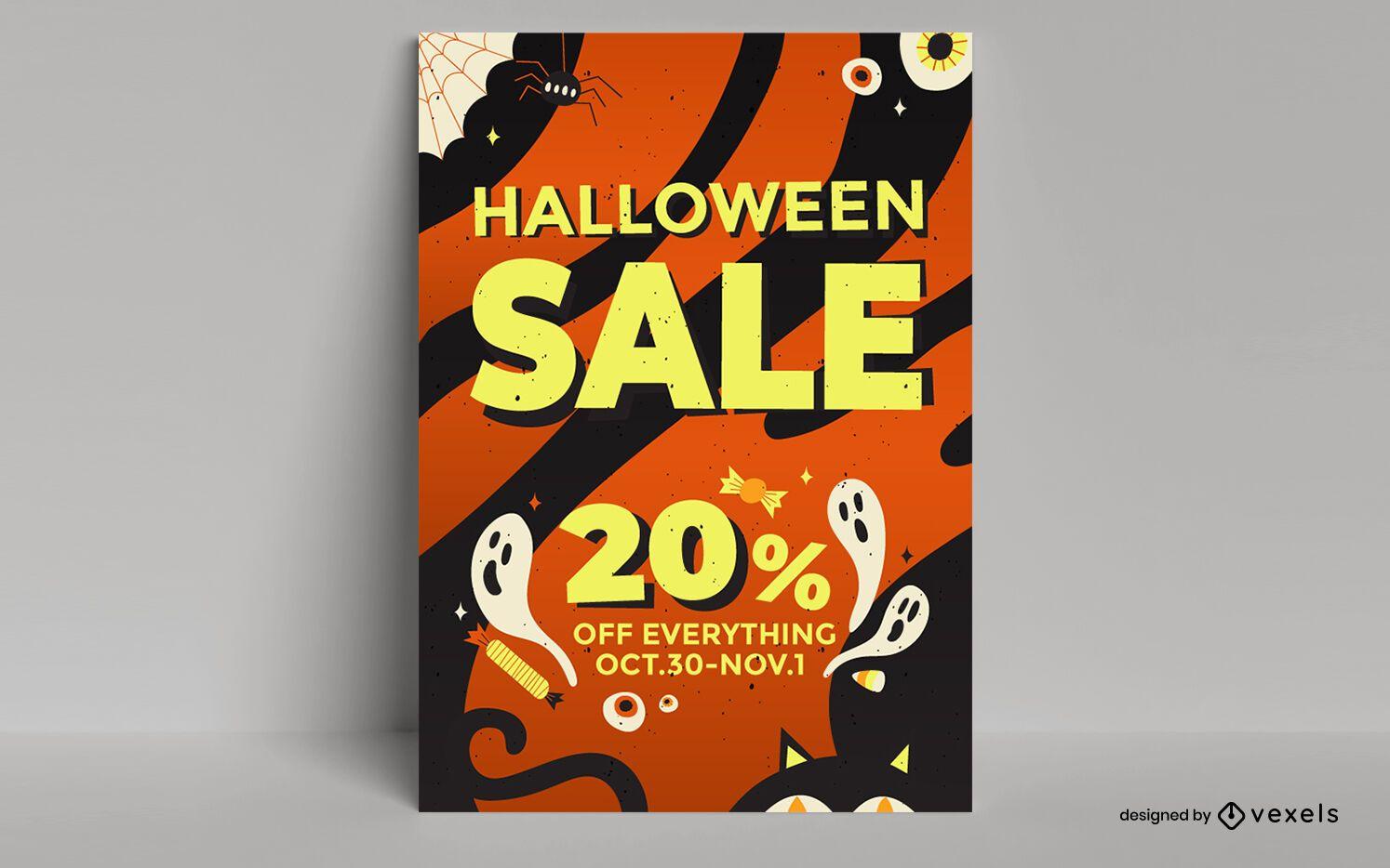 Diseño de cartel de venta de halloween