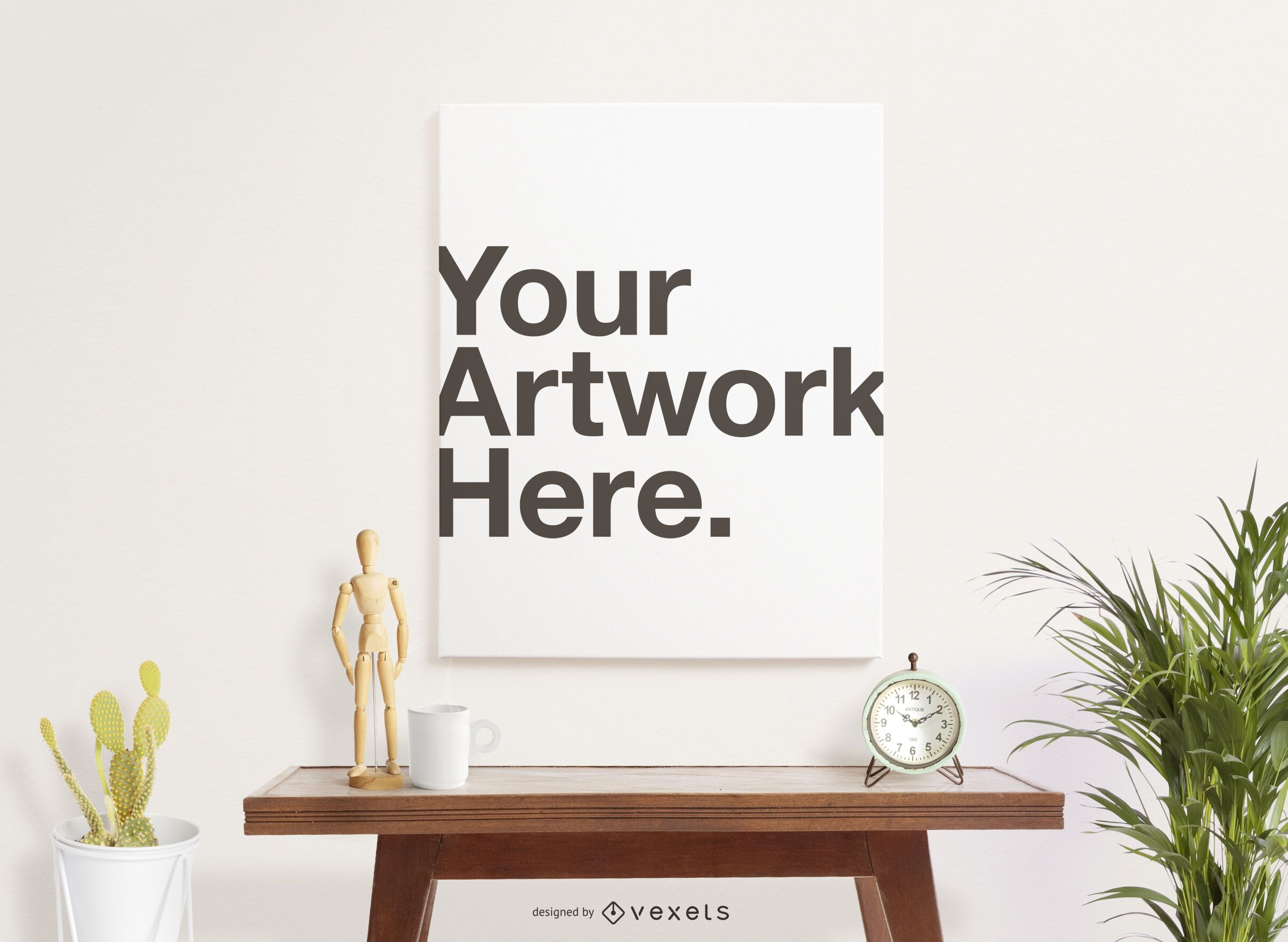 Canvas poster mockup composition
