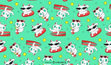 Diseño de patrón de surf de gato