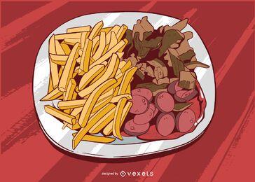 Ilustração de comida de caixa de táxi