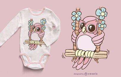 Owl swinging t-shirt design